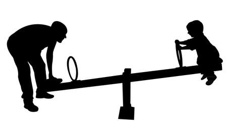 dady and son together at park, on seesaw Illustration
