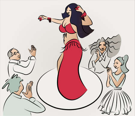 applaud: belly dancer performing , audiences clapping, vector  Illustration