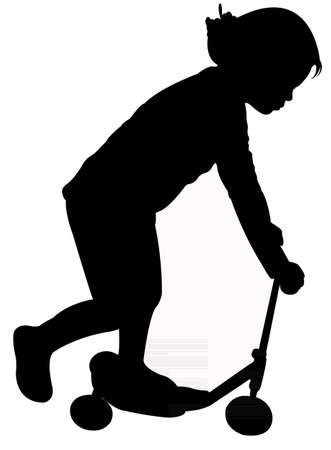 Silhouette of child on scooter  Vector