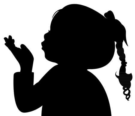 dibujo: un niño soplando, silueta