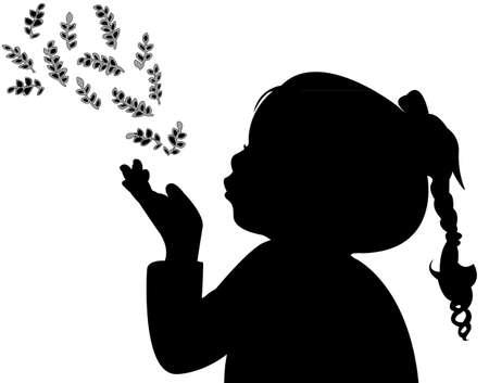 silueta hoja: un ni�o soplando las hojas, silueta
