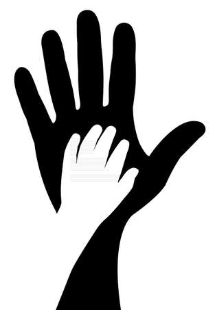 silueta niño: manos que ayudan