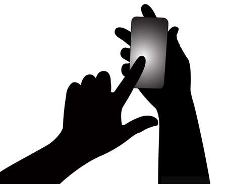 smart phone hand: hand using smart phone  Illustration