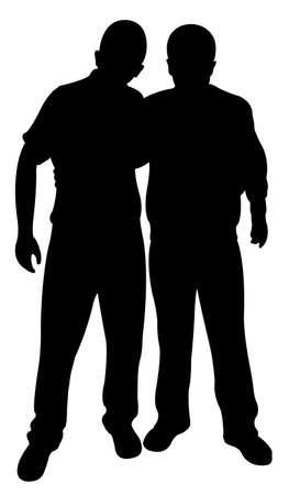 gente pobre: dos amigos silueta Vectores