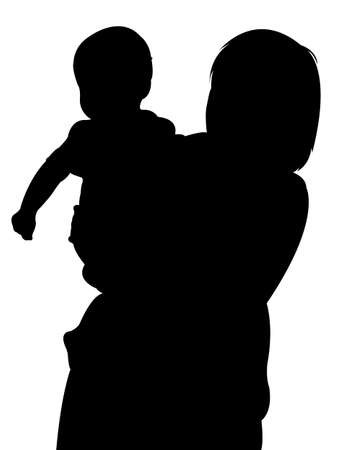 mom and baby silhouette vector Vector