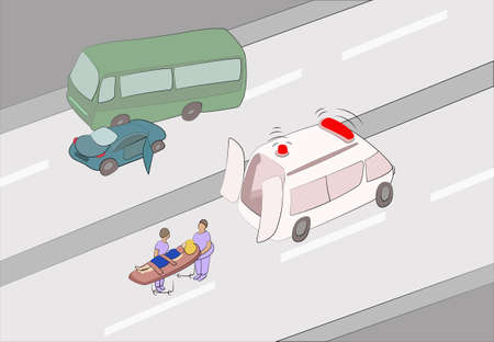 accident woman: first aid at traffic accident
