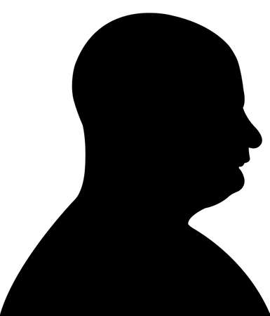 bald man: Silhouette of a mans head in black, vector  Illustration