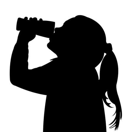 een kind drinkwater, silhouet vector