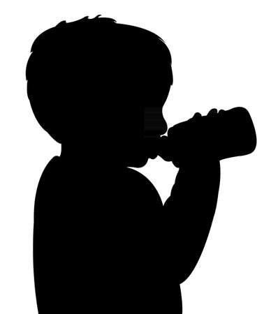 black baby boy: baby boy drinking water with baby bottle  Illustration