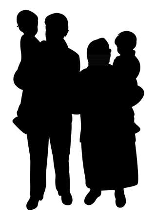 grand sons: grand parents and grand sons together, happy family silhouette vector