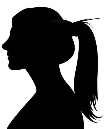 woman profile: lady head silhouette vector