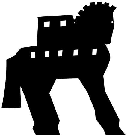 cavallo di troia: Silhouette Trojan Horse vector