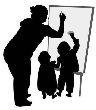 teacher and children writing on board