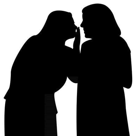 gossip girls silhouette  illustration  Vector
