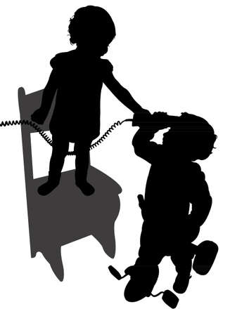children playing with telephone, girl on chair and boy on bicycle  Vector