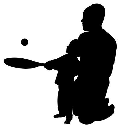 father playing teaching to play tennis to his son  silhouette  illustration  Vector