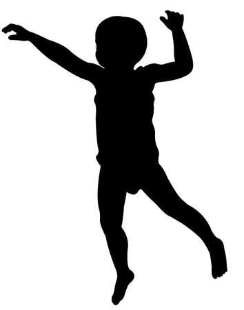 little girl feet: baby boy silhouette