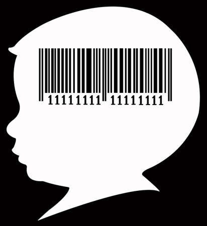 medical distribution: barcode on baby head silhouette