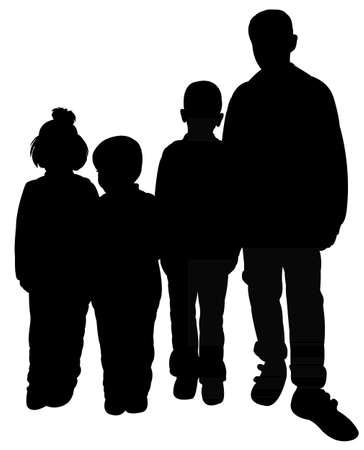 bambini poveri: bambini poveri silhouette illustrazione Vettoriali