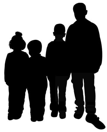 four person only: poor children silhouette illustration