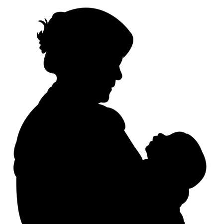 mother and baby: mother and baby silhouette