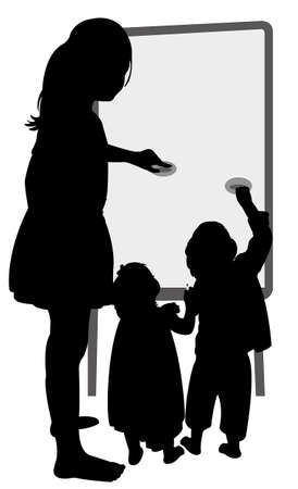 child studying: children writing on board