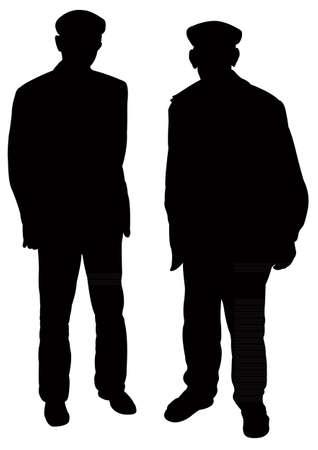 hombre pobre: dos viejos silueta vector
