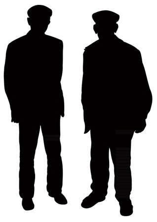 two old men silhouette vector