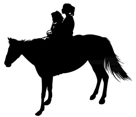 sisters on horse silhouette vector  Illustration