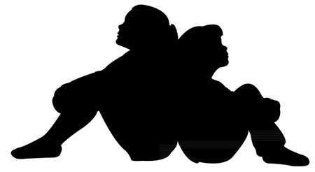 sisters sitting silhouette vector Illustration