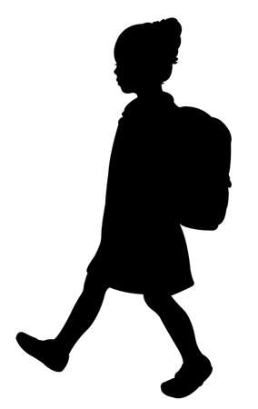 student walking to school with her bag 向量圖像