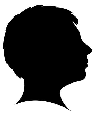 lady with short hair cut, head silhouette vector  Vector