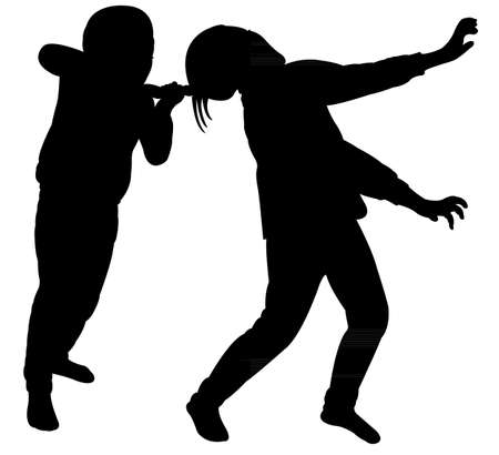 angry sisters fighting silhouette vector