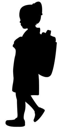silueta niño: escuela walkingto estudiante, vector de la silueta
