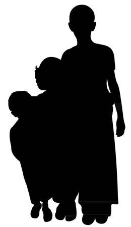 refugee: three suburban sisters silhouette vector