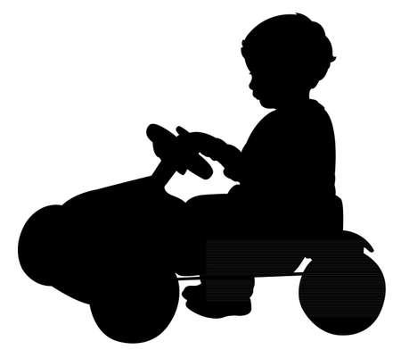 one wheel bike: baby boy on bicycle silhouette vector