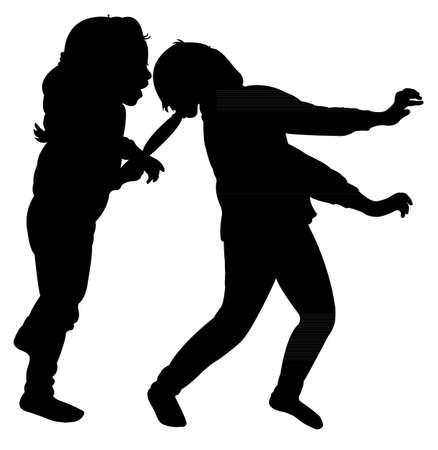 unfriendly: girls fighting silhouette