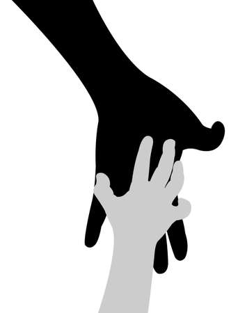 kids holding hands: hand in hand silhouette vector