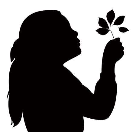 blowing out: a child blowing out leaves, silhouette