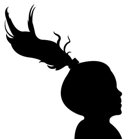 kids weaving: a child head silhouette vector