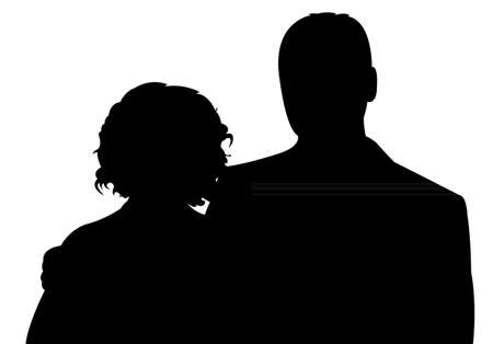 happy couple: silhouette of a couple