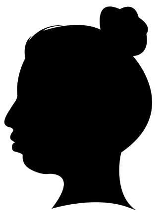 dame, tête, silhouette vecteur