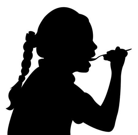 hungry girl eating, silhouette vector  Иллюстрация