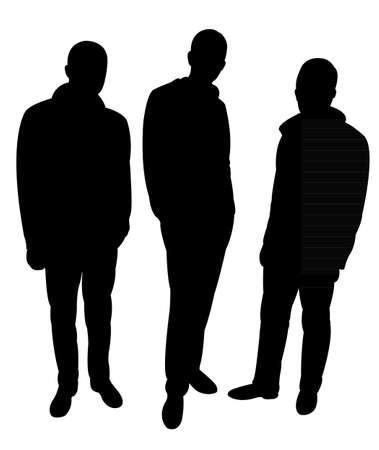 three standing men silhouette vector