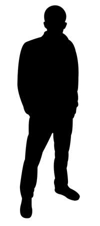 manly: standing man silhouette vector  Illustration