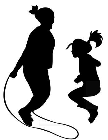 recess: Silhouettes of jumping rope-vector  Illustration