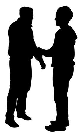 hands behind back: friends silhouette Illustration