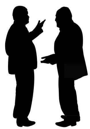 hands behind back: black silhouettes of two men standing and talking to each other Illustration