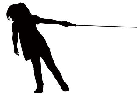 a girl pulling rope, tug-of-war  Vector