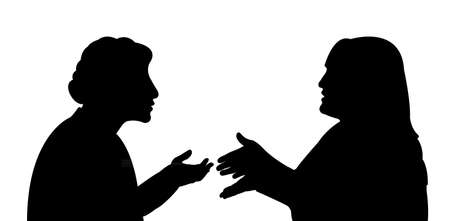 two women talking: black silhouettes of two women, talking to each other